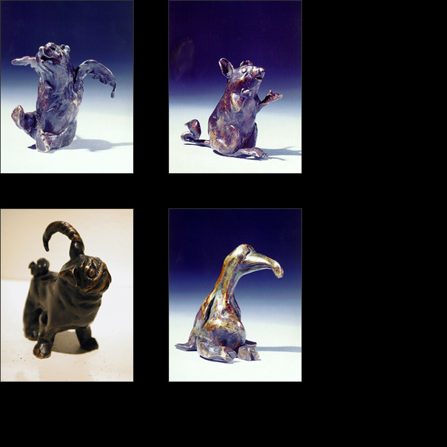 Sally Pettus sculpture, Winged Bear, Why Me Mouse, Horned Pug, Stuffed Penguin